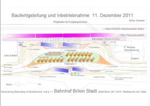Grundriss der neuen Station mit Busbahnhof und Parkmöglichkeiten